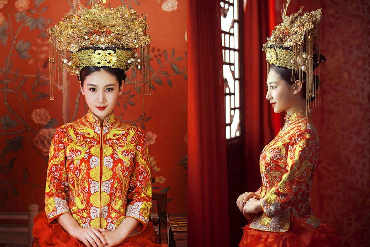 中式古典婚纱设计图